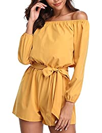 1db5faa79613 MISS MOLY Women s Sexy Off The Shoulder 3 4 Sleeve Playsuit Romper Jumpsuit  with Belt