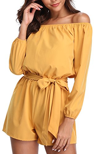Miss Moly Miss Moly Damen Romper Einteiler Weg von der Schulter Vintage Strandkleid mit Bindegürtel Gelb - XS