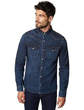 WOTEGA camicia di jeans da uomo, Slim Fit