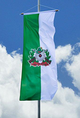 Deitert Schützenfahne mit Schützenlogo - Bannerfahne grün-weiß, 80x200cm