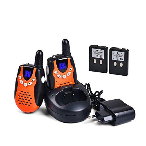 Tyhbelle 2 x Walkie Talkie mit Akku ud Ladelkabel für Kinder PMR446 lizenzfrei 8 Kanäle mit LCD-Display (2er-Organge)