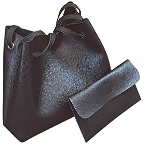 Borsa a tracolla Clode® Pelle di Modo Delle Donne del Litchi Stria Borsa Singola Spalla Borsa + Pochette (Colour : Nero)