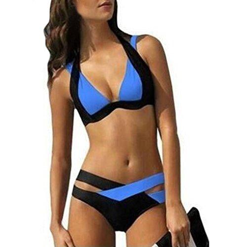 Binggong ❤️Femme Bikini Set Push-Up Rembourré Maillots, Femmes plage Imprimer Bandage Maillot de Bain impression Bandage Swimsuit Rembourré Maillot Bain Une Piece Triangle Bandeau (BLEU, S)