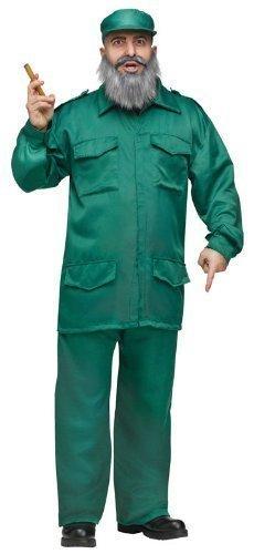 Herren Fidel Castro Kubanisch Diktator Armee Militär + Bart Kostüm Kleid - Diktator Kostüm