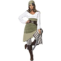 Smiffys Adult Women's Shipmate Sweetie Costume, Top, Skirt, Leggings, Bandana, Belt and Bootcuffs, Pirate, Serious Fun Medium
