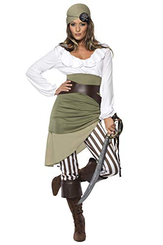 Teenager Kostüm Cowgirl - Smiffys Adult Women's Shipmate Sweetie Costume, Top, Skirt, Leggings, Bandana, Belt and Bootcuffs, Pirate, Serious Fun Medium
