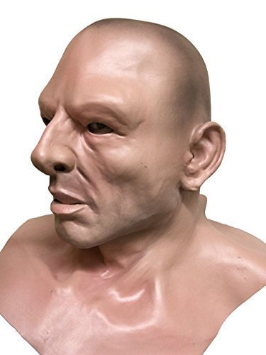 Bald Headed Hard Man, Thug, Soldier, werden, Human Face, Full Kopf und Schultern Maske aus Latex