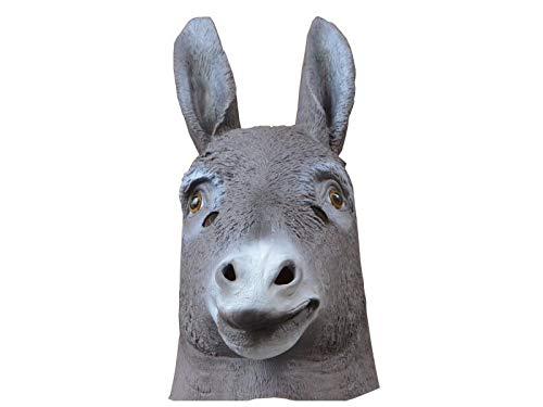 Yyanliii divertente divertente maschera da asino copricapo halloween tricky animal mask for masquerade (grigio)