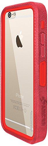 Amzer Crusta edge2edge Shell Housse Coque Étui robuste avec verre trempé et clip ceinture pour iPhone 6Plus Argenté/doré _ P rouge