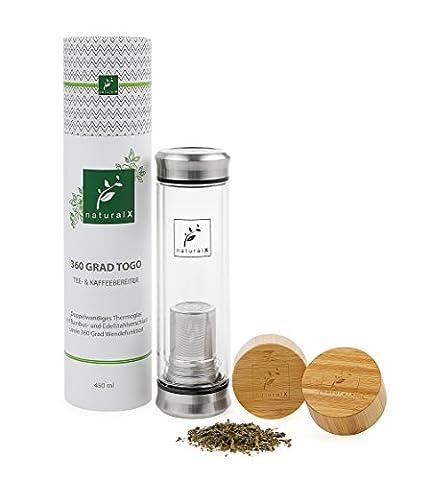 naturalX 360° ToGo Teeflasche Thermobecher Teebereiter Tea und Coffee Maker To Go Teezubereiter Fruit Infusor Früchte Teekanne mit doppelwandigem Glas und Edelstahl Teesieb sowie Edelstahl Deckel BPA-frei 450ml + GRATIS Bambus Deckel + GRATIS
