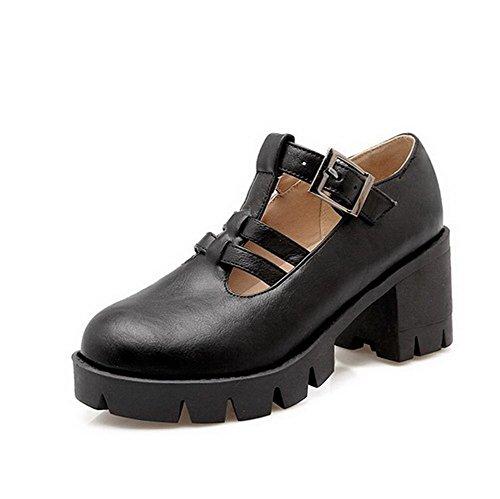 VogueZone009 Femme Lacet Rond à Talon Correct Pu Cuir Couleur Unie Chaussures Légeres Noir