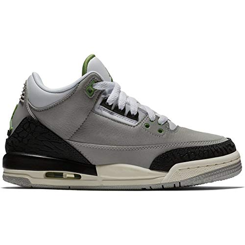 Nike Jungen Air Jordan 3 Retro (gs) Fitnessschuhe, Mehrfarbig (Lt Smoke Grey/Chlorophyll/Black/White 006), 36.5 EU