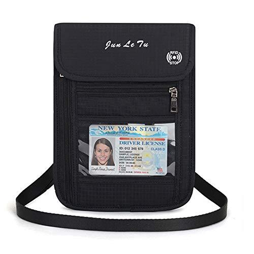 Damen Herren Brustbeutel Brusttasche mit RFID-Blockierung, Reise Geldgürtel,Umhängegeldbeutel Diebstahlschutz für Tickets Kreditkarten Bargeld(Schwarz) - Hals Rfid-reise-geldbörse