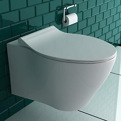 Alpenberger Spülrandloses Hänge-Dusch-WC mit integrierter Taharet-Bidet Funktion inkl. Bidetschlauch + WC-Sitz mit Absenkautomatik   Intimdusche gesunde, hygienische und natürliche Reinigung