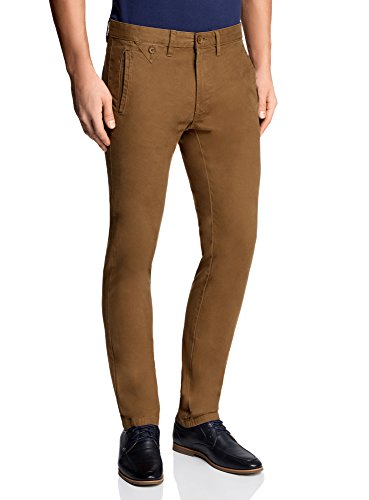oodji Ultra Uomo Pantaloni Chino in Cotone, Marrone, IT 48 / EU 44 / L
