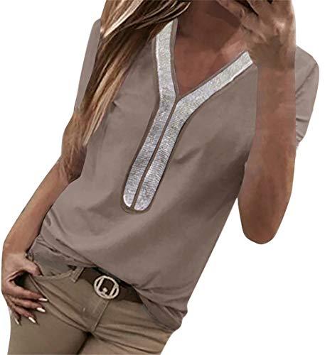 Yidarton T-Shirt Oberteil Damen Sommer Pailletten T-Shirt Classics V-Ausschnitt Tee Tops Kurzarm T-Shirts Lose Casual (6-Khaki, S=(EU 34-36)) -