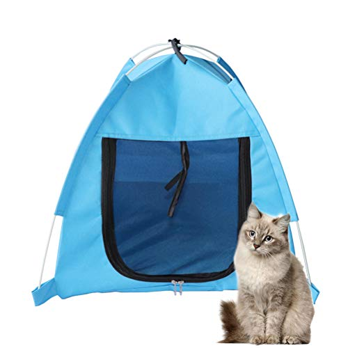 POPETPOP Outdoor Hundehütte Katze Spielhaus Haustier Welpe Laufstall Sommer Outdoor Hundehütte Atmungsaktiv Faltbar Tragbares Mückenzelt Katzentunnel Camping Strand-Blau (Haustier Outdoor Laufstall)