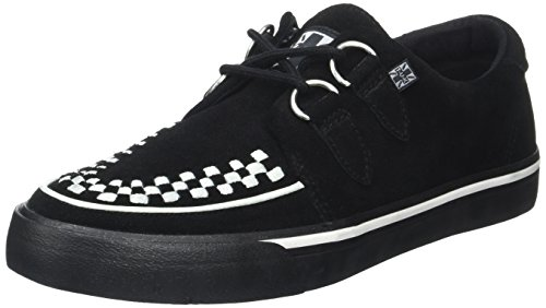 T.U.K. Unisex-Erwachsene VLK D Ring Creep Sneak Blk SDE WHT Int High-Top, Schwarz (Black/White Suede Black/White Suede), 39 EU (Unisex-schwarz-wildleder-creeper-schuhe)