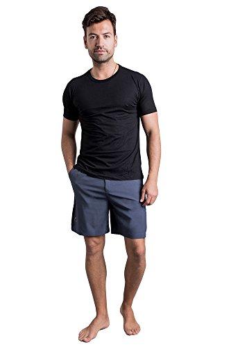 Herren Yogahose | OHMME Yoga Kleidung Warrior I Kurze Hose Slate Grey