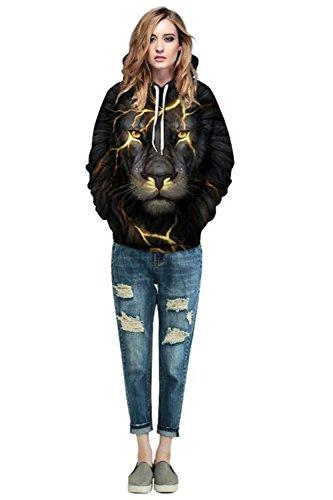 ALICECOCO Kapuzenpulli Herren/Damen 3D Druck Pullover Sweatjacke Cartoon Skull/Wolf Hoodie Weihnachten Langarm Slim Fit Sweatshirt mit Taschen Unisex Lion B