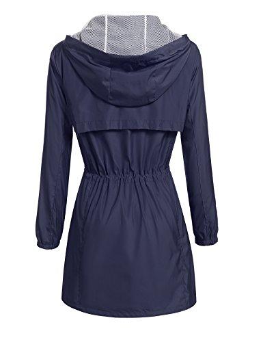 Damen Regenjacke Parka Windbreaker Übergangsjacke Funktionsjacke Regenmantel mit Kapuze Casual Jacke Outwear Blau