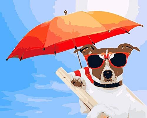 PAINTINGLEE New Malen nach Zahlen für Erwachsene Kinder - Hund mit Sonnenbrille 16 * 20 Zoll Leinen Leinwand (kein Rahmen) - DIY Digital Malen nach Zahlen Kits auf Leinwand