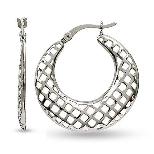 LeCalla Sterling Silber Schmuck Filigree Texture Band-Ohrring für Frauen