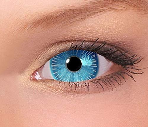 Farbige Mini Sclera Kontaktlinsen Lenses - 27 Modelle - 17mm, 1Paar (2 Stück), ohne Stärke, Gratis Behälter (Ice Walker Mini Sclera)