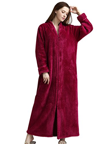 BELLOO Ladies Soft Fleece Dressing Gown Full Length Fluffy Bathrobe Zip Up - 417StwbGLGL - BELLOO Ladies Soft Fleece Dressing Gown Full Length Fluffy Bathrobe Zip Up