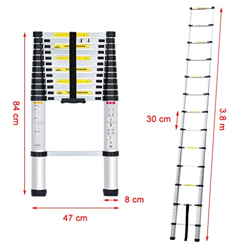 There are multiple height settings, allowing 1ft extension or retraction of rungs up to 3.8m or 0.86m, respectively. This makes it ideal for jobs of every size and scope, whether it's reaching a very high spot to clean or paint, or trying to fit into a more confined space where a conventional ladder wouldn't fit.