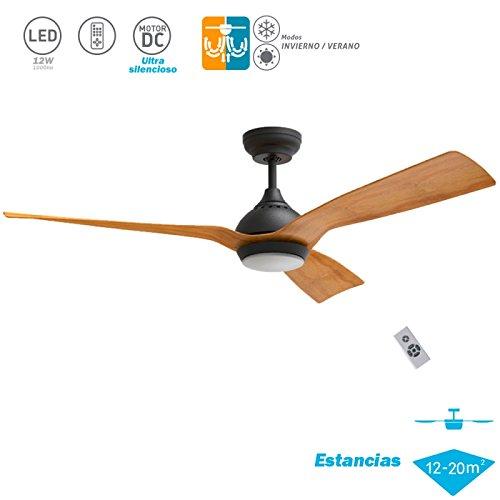 Klass Fan Ventilador de Techo DC con luz Serie Waterwind Negro - Madera