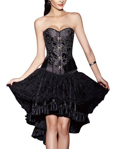 R-Dessous Corsgenkleid kurz Corsage + Rock mini Top Bustier Kleid Abendkleid Cocktailkleid Party...