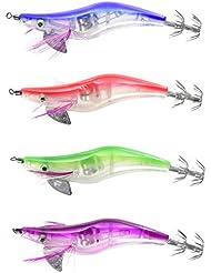 Evilandat Kit 4 Señuelos Tapones LED de pescado nadador flotantes Swimbaits para pesca noche 4 colores