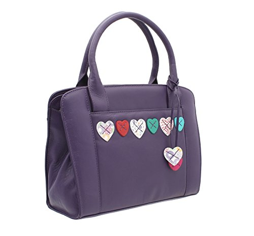 Mala Leather Collection LUCY Sac Grab en Cuir Souple avec Bandoulière 732_30 Framboise Violet