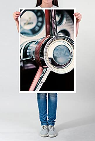 Best for home Artprints - Künstlerische Fotografie – Mahagoni Lenkrad eines Oldtimers- Fotodruck in gestochen scharfer Qualität
