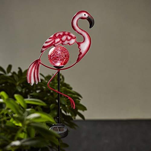 LED Solar-Lampe Flamingo, pink, Metall, Glas | Garten-Deko Leuchte, ideal für Terrasse, Wiese, Balkon, Blumenbeet, Wege | Photovoltaik Dämmerungssensor IP44 Glaskugel Erdspieß Batterie Akku Pink Flamingo Lampe