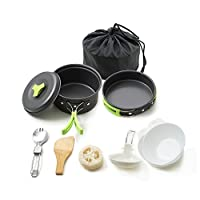 MiYan Portable camping cookware mess kit folding Cookset for hiking backpacking 10PC(1L Lightweigh durable Pot Pan Bowls Spork with nylon bag outdoor cook equipment