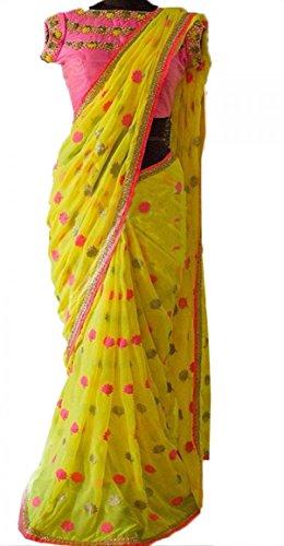 Colour Trendz Women's Georgette/Silk Saree (0_Yellow)