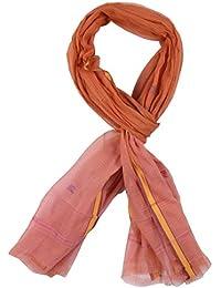Mesri Saree Women's Cotton Silk Dupatta (Orange And Pink)