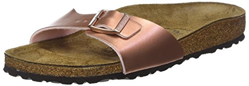 BIRKENSTOCK Unisex Madrid Birko-flor Pantoletten Narrow Fit , Pink (Soft Metallic Rose Gold Soft Metallic Rose Gold) , 37 (Schmal) -