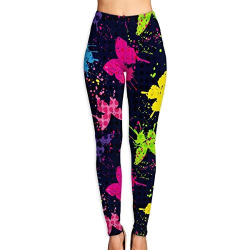 EUEI Spray Paint Butterflies Womens Yoga Pants Classic Yoga Leggings Capri Yoga Pants Workout Pants for Fitness Riding Running Butterfly Capri-jeans