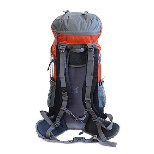 LF&F Backpack Camping outdoor Zaini Borse 50L di grande capacità escursioni all'aperto alpinismo zaino da equitazione con copertura a pioggia solido e durevole zaino maschile e femminile generale oran orange