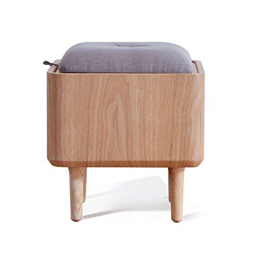 HHCS Creative Simple Dressing Table Tabouret Chambre à coucher moderne en bois massif de stockage avec sac souple tabouret de maquillage tabouret nordique (39.5 * 39.5 * 44 cm) Chaises et tabourets