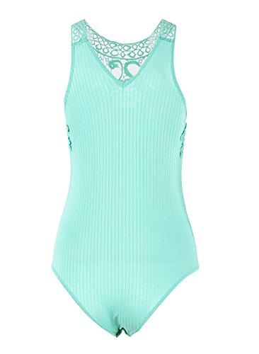 Yieune Bodysuit Ärmellos Spitze Jumpsuit Sexy Overalls Damen Sommer Top Grün