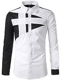 515b747b4ee42 J-TUMIA Camisas Hombre Slim Fit Transpirable Camisa de Vestir de Corte  Regular con Cuello Redondo de Solapa para Hombres Botones de Manga…