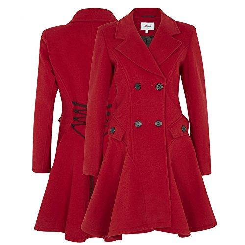 La Creme - Damen Baumwolle & Kaschmir Jacke Damen Winter Zweireihig Ausgestellt Mantel Rot