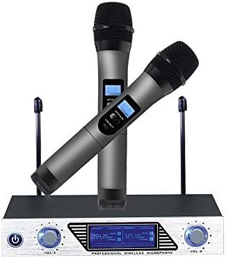 Micrófono inalámbrico Micrófono con sistema VHF con pantalla LCD Receptor de microfono 100M Canales Dual 2 micrófonos de mano portátiles Anti interferencia para Karaoke Reuniones Conferencias Fiestas