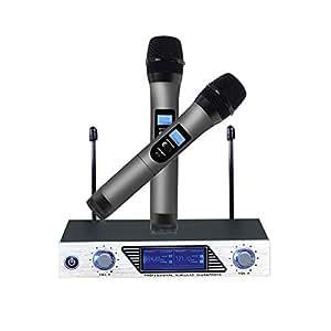 microphone sans fil micro professionnel sans fil microphone dynamiques vhf portable set de 2. Black Bedroom Furniture Sets. Home Design Ideas