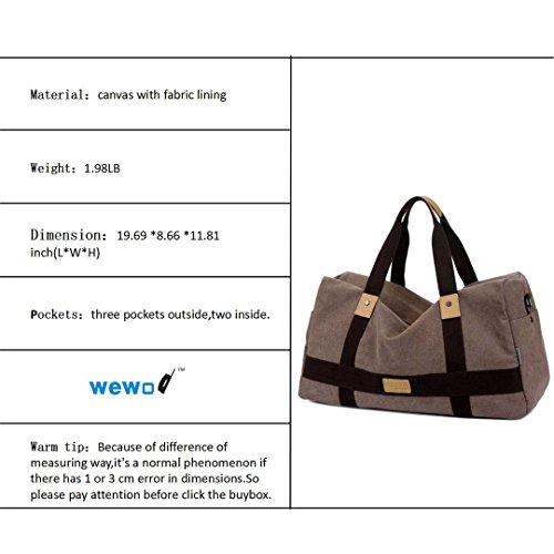 Wewod Große Kapazität Wochenende Seesack Turnhalle Messenger Tasche Canvas Material (Khaki) Braun