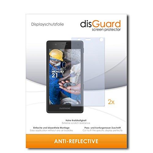 disGuard® Bildschirmschutzfolie [Anti-Reflex] kompatibel mit Fairphone Fairphone 2 [2 Stück] Entspiegelnd, Matt, Antireflektierend, Extrem Kratzfest, Anti-Fingerabdruck - Panzerglas Folie, Schutzfolie